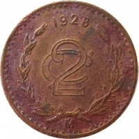 reverse of 2 Centavos - Larger (1905 - 1941) coin with KM# 419 from Mexico. Inscription: 1928 2¢ M
