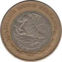 obverse of 10 Pesos - New millennium (2000 - 2001) coin with KM# 636 from Mexico. Inscription: ESTADOS UNIDOS MEXICANOS