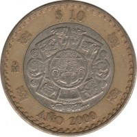 reverse of 10 Pesos - New millennium (2000 - 2001) coin with KM# 636 from Mexico. Inscription: $10 AÑO 2000