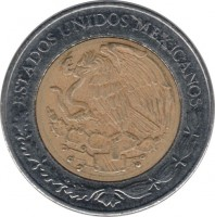 obverse of 5 Pesos - 200th Anniversary of the Independence: Mariano Matamoros (2008) coin with KM# 902 from Mexico. Inscription: ESTADOS UNIDOS MEXICANOS