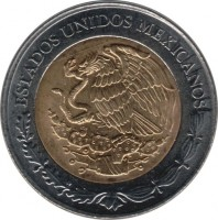obverse of 5 Pesos - 200th Anniversary of the Independence: Miguel Ramos Arizpe (2008) coin with KM# 904 from Mexico. Inscription: ESTADOS UNIDOS MEXICANOS