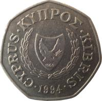 obverse of 50 Cents - Abduction of Europa (1991 - 2004) coin with KM# 66 from Cyprus. Inscription: CYPRUS ΚΥΠΡΟΣ KIBRIS 1994 1960