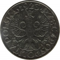 obverse of 20 Groszy - Non magnetic (1941 - 1944) coin with Y# 37 from Poland. Inscription: · 1923 · RZECZPOSPOLITA POLSKA