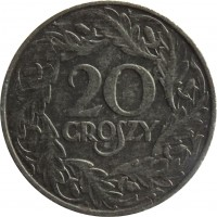 reverse of 20 Groszy - Non magnetic (1941 - 1944) coin with Y# 37 from Poland. Inscription: 20 GROSZY