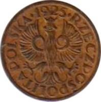 obverse of 1 Grosz (1923 - 1939) coin with Y# 8a from Poland. Inscription: .1925. RZECZPOSPOLITA POLSKA