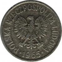 obverse of 20 Groszy (1957 - 1985) coin with Y# A47 from Poland. Inscription: POLSKA RZECZPOSPOLITA LUDOWA 1965