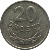 reverse of 20 Groszy (1957 - 1985) coin with Y# A47 from Poland. Inscription: 20 GROSZY