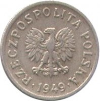 obverse of 10 Groszy (1949) coin with Y# 42 from Poland. Inscription: RZECZPOSPOLITA POLSKA · 1949 ·