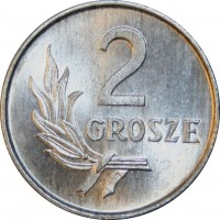 reverse of 2 Grosze (1949) coin with Y# 40 from Poland. Inscription: 2 GROSZE