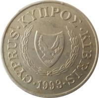 obverse of 20 Cents (1989 - 2004) coin with KM# 62 from Cyprus. Inscription: CYPRUS ΚΥΠΡΟΣ KIBRIS 1960 1993
