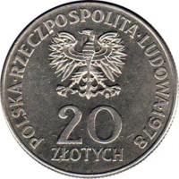 obverse of 20 Złotych - Maria Konopnicka (1978) coin with Y# 95 from Poland. Inscription: POLSKA RZECZPOSPOLITA LUDOWA 1978 20 ZŁOTYCH