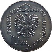 obverse of 10 Złotych - Gdynia Seaport (1972) coin with Y# 65 from Poland. Inscription: POLSKA RZECZPOSPOLITA LUDOWA 1972 10ZŁ