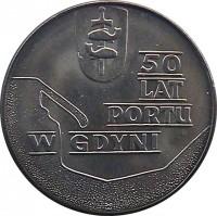 reverse of 10 Złotych - Gdynia Seaport (1972) coin with Y# 65 from Poland. Inscription: 50 LAT PORTU W GDYNI