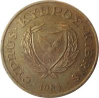 obverse of 20 Cents (1983 - 1988) coin with KM# 57 from Cyprus. Inscription: CYPRUS · ΚΥΠPΟΣ · KIBRIS · 1983 1960