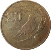 reverse of 20 Cents (1983 - 1988) coin with KM# 57 from Cyprus. Inscription: 20
