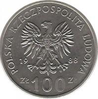obverse of 100 Złotych - Jadwiga (1988) coin with Y# 183 from Poland. Inscription: POLSKA RZECZPOSPOLITA LUDOWA 1988 ZŁ 100 ZŁ