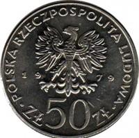 obverse of 50 Złotych - Mieszko I (1979) coin with Y# 100 from Poland. Inscription: POLSKA RZECZPOLSPOLITA LUDOWA 19 79 ZŁ 50 ZŁ