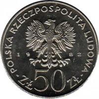 obverse of 50 Złotych - Boleslaw III (1982) coin with Y# 133 from Poland. Inscription: RZECZPOSPOLITA POLSKA LUDOWA 19 82 ZŁ 50 ZŁ