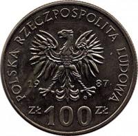 obverse of 100 Złotych - Kazimierz III (1987) coin with Y# 167 from Poland. Inscription: POSLKA RZECZPOSPOLITA LUDOWA 1987 Zł 100 Zł