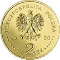 obverse of 2 Złote - Jubilee of Year 2000 (2000) coin with Y# 376 from Poland. Inscription: RZECZPOSPOLITA POLSKA 2000 ZŁ 2 ZŁ