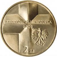 obverse of 2 Złote - Pope John Paul II (2003) coin with Y# 465 from Poland. Inscription: RZECZPOSPOLITA POLSKA 2003 2 ZŁ