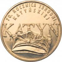 reverse of 2 Złote - Massacre of Katyn (2010) coin with Y# 721 from Poland. Inscription: 70. ROCZNICA ZBRODNI KATYNSKIEJ KATYN