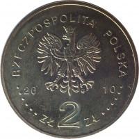 obverse of 2 Złote - Battle of Grunwald 1410 (2010) coin with Y# 732 from Poland. Inscription: RZECZPOSPOLITA POLSKA 2010 ZŁ 2 ZŁ