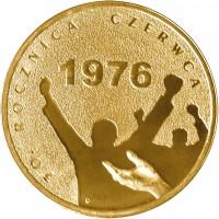 reverse of 2 Złote - June 1976 Anniversary (2006) coin with Y# 571 from Poland. Inscription: 30 ROCZNICZA CZERWCA 1976