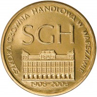 reverse of 2 Złote - Warsaw School of Economics (2006) coin with Y# 609 from Poland. Inscription: SGH SZKOŁA GŁÓWNA HANDLOWA W WARSZAWIE