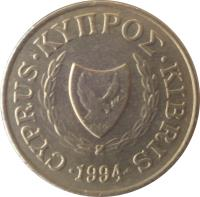 obverse of 2 Cents (1983 - 2004) coin with KM# 54 from Cyprus. Inscription: CYPRUS · ΚΥΠΡΟΣ · KIBRIS 1960 · 1990 ·