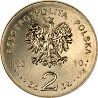 obverse of 2 Złote - Miechow (2010) coin with Y# 760 from Poland. Inscription: RZECZPOSPOLITA POLSKA 2010 Zł 2 Zł