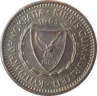 obverse of 25 Mils (1963 - 1982) coin with KM# 40 from Cyprus. Inscription: ΚΥΠΡΙΑΚΗ ΔΗΜΟΚΡΑΤΙΑ · KIBRIS CUMHURİYETİ · 1980 1960