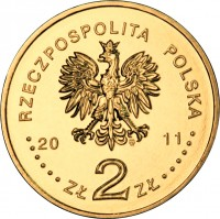 obverse of 2 Złote - Mława (2011) coin with Y# 788 from Poland. Inscription: RZECZPOSPOLITA POLSKA 2011 ZŁ 2 ZŁ