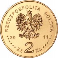obverse of 2 Złote - Paulines Monastery on Skałka in Kraków (2011) coin with Y# 805 from Poland. Inscription: RZECZPOSPOLITA POLSKA 2011 ZŁ 2 ZŁ