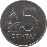 reverse of 5 Centai (1991) coin with KM# 87 from Lithuania. Inscription: 5 CENTAI