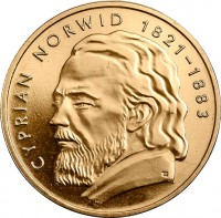 reverse of 2 Złote - Cyprian Norwid (2013) coin with Y# 856 from Poland. Inscription: CYPRIAN NORWID 1821-1883