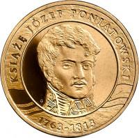 reverse of 2 Złote - Józef Poniatowski (2013) coin with Y# 873 from Poland. Inscription: Książę Józef Poniatowski 1763 - 1813