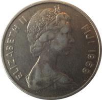 obverse of 10 Cents - Elizabeth II - 2'nd Portrait (1969 - 1985) coin with KM# 30 from Fiji. Inscription: ELIZABETH II FIJI 1976