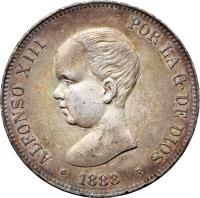 obverse of 5 Pesetas - Alfonso XIII (1888 - 1892) coin with KM# 689 from Spain. Inscription: ALFONSO XIII POR LA G. DE DIOS 1891 M