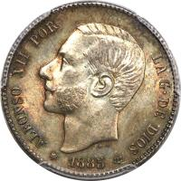 obverse of 1 Peseta - Alfonso XII (1881 - 1885) coin with KM# 686 from Spain. Inscription: ALFONSO XII POR LA G · DE DIOS * 1885 *