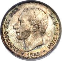 obverse of 2 Pesetas - Alfonso XII (1879 - 1884) coin with KM# 678 from Spain. Inscription: ALFONSO XII POR LA G · DE DIOS * 1883 *