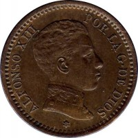 obverse of 2 Centimos - Alfonso XIII - 4'th Portrait (1904 - 1905) coin with KM# 722 from Spain. Inscription: ALFONSO XIII POR LA G. DE DIOS