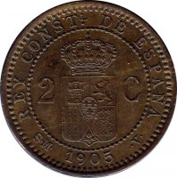reverse of 2 Centimos - Alfonso XIII - 4'th Portrait (1904 - 1905) coin with KM# 722 from Spain. Inscription: REY CONTSL. DE ESPAÑA 2 C S · M · 1905 · V ·