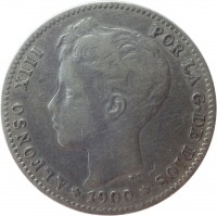 obverse of 1 Peseta - Alfonso XIII - 3'rd Portrait (1896 - 1902) coin with KM# 706 from Spain. Inscription: ALFONSO XIII POR LA G · DE DIOS * 1900 *