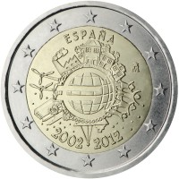 obverse of 2 Euro - Juan Carlos I - 10 Years of Euro Cash (2012) coin with KM# 1252 from Spain. Inscription: ESPAÑA A.H. € 2002 2012