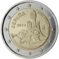 obverse of 2 Euro - Felipe VI - Parc Güell (2014) coin with KM# 1306 from Spain. Inscription: PARK GÜELL - GAUDÍ ESPAÑA 2014 M