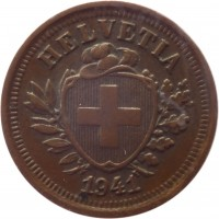 obverse of 1 Rappen (1850 - 1941) coin with KM# 3 from Switzerland. Inscription: HELVETIA 1941