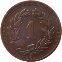 reverse of 1 Rappen (1850 - 1941) coin with KM# 3 from Switzerland. Inscription: 1 B