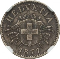 obverse of 5 Rappen (1850 - 1877) coin with KM# 5 from Switzerland. Inscription: HELVETIA 1877