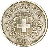obverse of 10 Rappen (1850 - 1876) coin with KM# 6 from Switzerland. Inscription: HELVETIA 1850